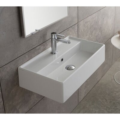 Teorema Ceramic Rectangular Vessel Bathroom Sink with Overflow Faucet Mount: No Hole