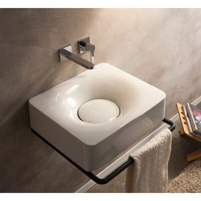 Fuji Ceramic Rectangular Vessel Bathroom Sink with Faucet Faucet Mount: No Hole
