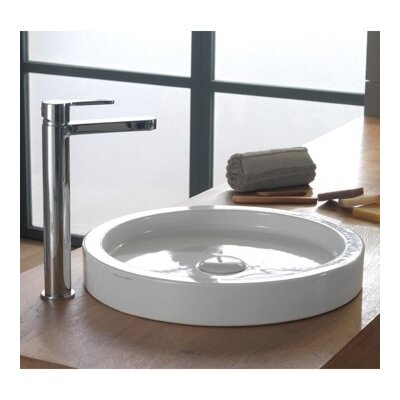 Bucket Ceramic Rectangular Vessel Bathroom Sink with Overflow