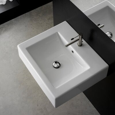 Ceramic 21 Wall Mount Bathroom Sink with Overflow Number of Holes: 1