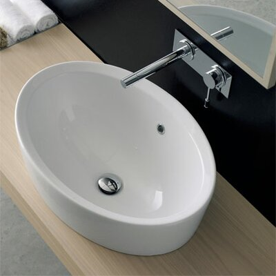 Matty Ceramic Oval Vessel Bathroom Sink with Overflow
