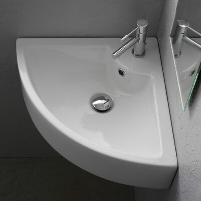 Ceramic 19 Corner Bathroom Sink with Overflow