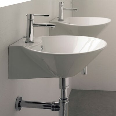 Cono 16.5 Ceramic 17 Wall Mount Bathroom Sink with Overflow