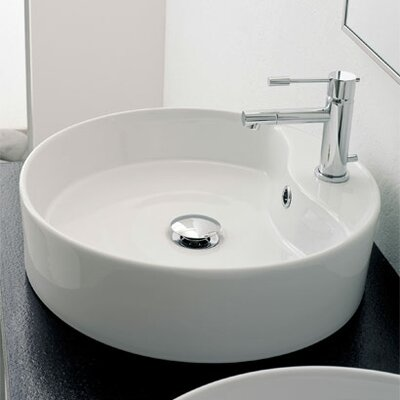 Geo Circular Vessel Bathroom Sink with Overflow
