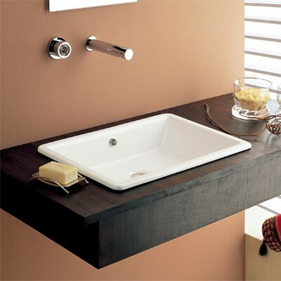 Gaia Ceramic Rectangular Drop-In Bathroom Sink with Overflow
