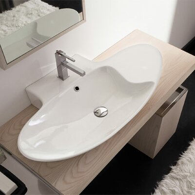 Zefiro Ceramic 36 Wall Mount Bathroom Sink with Overflow