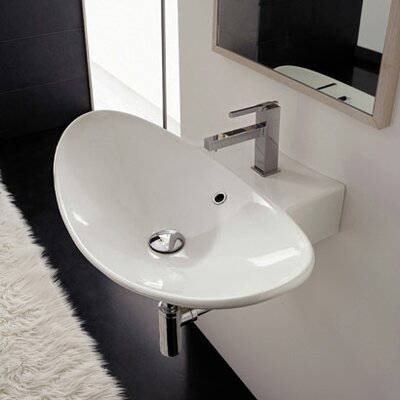 Zefiro Ceramic 20 Wall Mount Bathroom Sink with Overflow