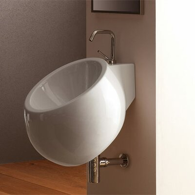 Planet 45 Wall Mounted Bathroom Sink in White