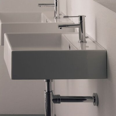 Teorema Ceramic 18 Wall Mounted Sink with Overflow Faucet Drilling: 3-Hole
