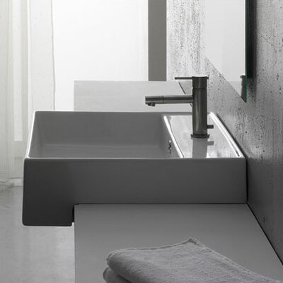 Teorema Ceramic Square Vessel Bathroom Sink with Overflow
