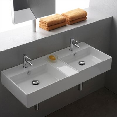 Teorema Ceramic 41 Wall Mounted Sink with Overflow with Overflow Faucet Mount: 2 Hole