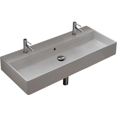 Teorema Ceramic 39 Wall Mounted Sink with Overflow Number of Holes: Single Hole