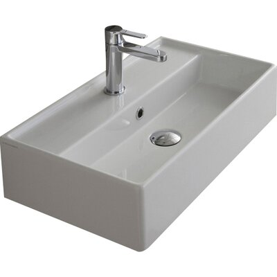 Teorema 24 Wall Mounted Bathroom Sink with Overflow Faucet Mount: No Hole