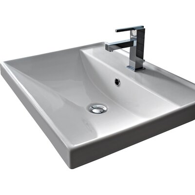 ML Ceramic Rectangular Drop-In Bathroom Sink with Overflow Number of Holes: Single Hole