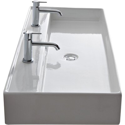 Teorema 47 Wall Mounted Bathroom Sink with Overflow Number of Holes: Two Holes