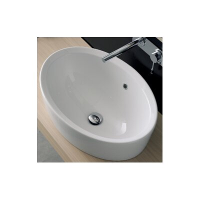 Matty Oval Vessel Bathroom Sink with Overflow