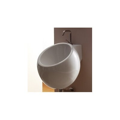 Planet Ceramic 16 Wall Mount Bathroom Sink with Overflow