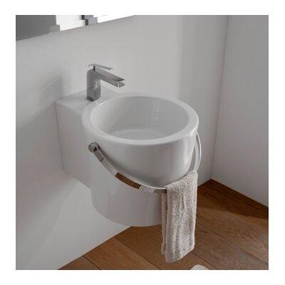 Bucket Ceramic Circular Vessel Bathroom Sink with Overflow