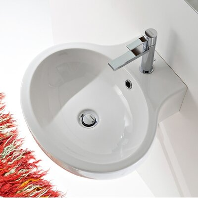 Planet Ceramic 20 Wall Mount Bathroom Sink with Overflow