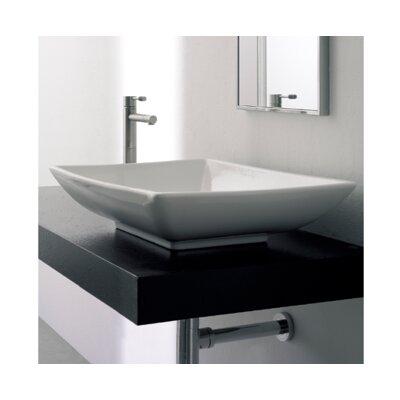 Kylis Ceramic Rectangular Vessel Bathroom Sink with Overflow