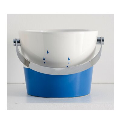 Bucket Ceramic Circular Vessel Bathroom Sink with Overflow