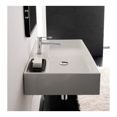 Teorema Ceramic 32 Wall Mount Bathroom Sink with Overflow Faucet Mount: Single Hole