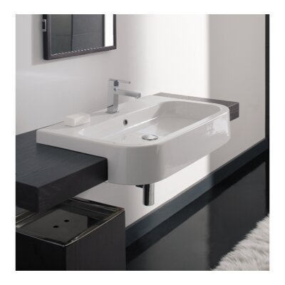 Next Ceramic Rectangular Vessel Bathroom Sink with Overflow