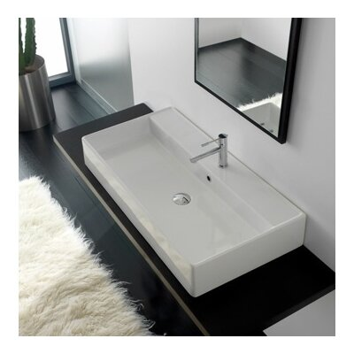 Teorema Rectangular Vessel Bathroom Sink with Overflow