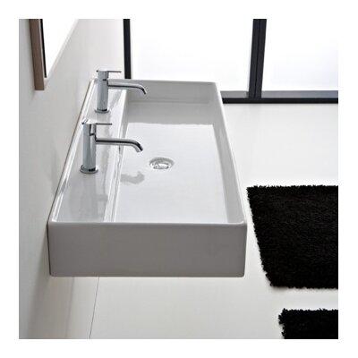 Teorema 47 Wall Mounted Bathroom Sink with Overflow