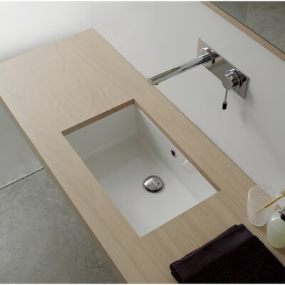 Miky Rectangular Undermount Bathroom Sink with Overflow