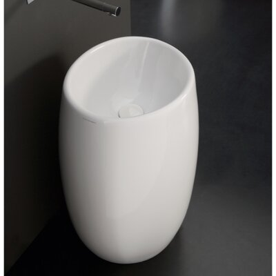 Moai Ceramic 34 Pedestal Bathroom Sink with Overflow