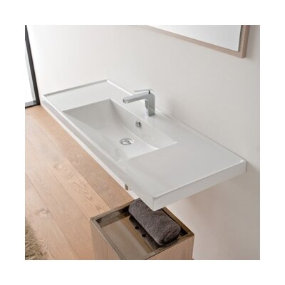 ML Ceramic Rectangular Drop-In Bathroom Sink with Overflow Number of Holes: No Hole