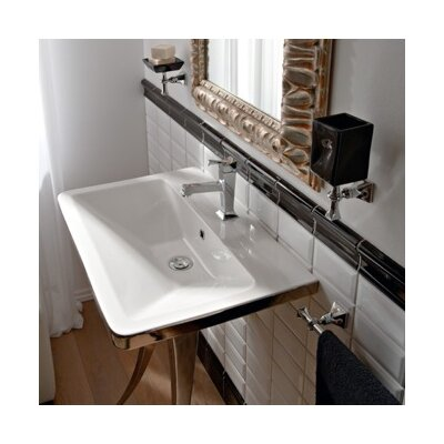 Butterfly Ceramic Rectangular Vessel Bathroom Sink with Overflow Number of Holes: Three Holes