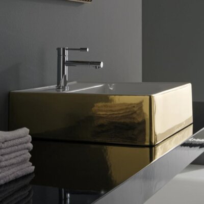 Teorema Ceramic Rectangular Vessel Bathroom Sink Sink Finish: Gold and White