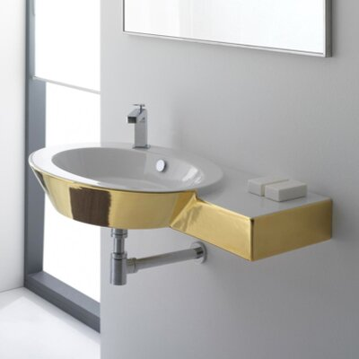 Wish Ceramic 35 Wall Mount Bathroom Sink with Overflow Sink Finish: Gold and White