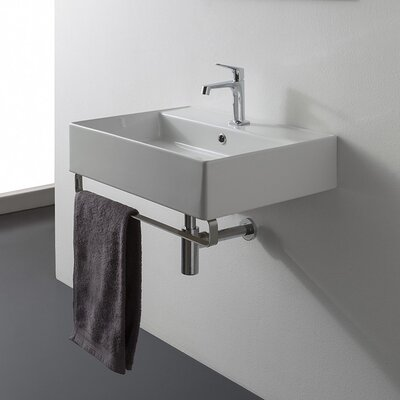 Teorema Ceramic 24 Console Bathroom Sink with Overflow Faucet Mount: 8 Centers