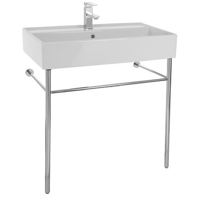 Teorema Ceramic 32 Console Bathroom Sink with Overflow Faucet Mount: 8 Centers