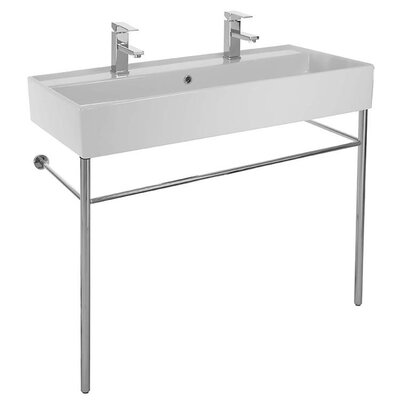 Teorema Ceramic 40 Console Bathroom Sink with Overflow Faucet Mount: No Hole