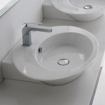 Wish Ceramic Oval Vessel Bathroom Sink with Overflow Sink Finish: Gold