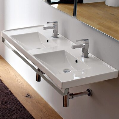 ML Ceramic Rectangular Wall-Mount Bathroom Sink with Overflow Faucet Mount: Double