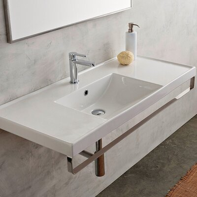 ML Ceramic 48 Wall Mount Bathroom Sink with Overflow Faucet Mount: No Hole