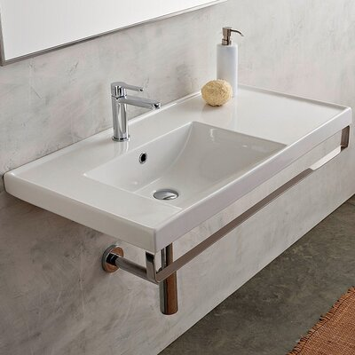 ML 36 Wall Mounted Bathroom Sink with Overflow Faucet Mount: 8 Centers