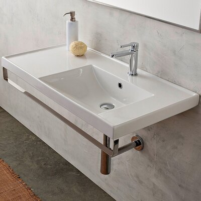 ML Ceramic 37 Wall Mount Bathroom Sink with Overflow Faucet Mount: No Hole
