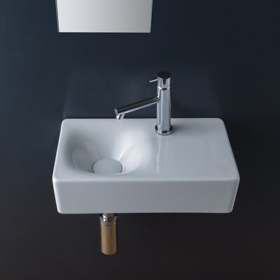 Cube Ceramic 17 Wall Mount Bathroom Sink