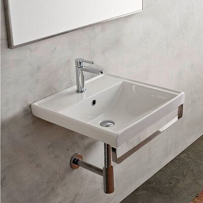 ML Ceramic 24 Wall Mount Bathroom Sink with Overflow Faucet Mount: No Hole