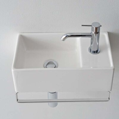 Teorema Ceramic 17 Wall Mount Bathroom Sink with Overflow