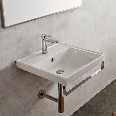 ML Ceramic 25 Wall Mount Bathroom Sink with Overflow Faucet Mount: 8 Centers