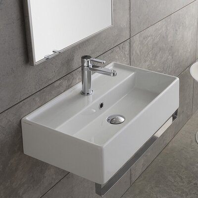 Teorema Ceramic 24 Wall Mount Bathroom Sink with Overflow Faucet Mount: Single