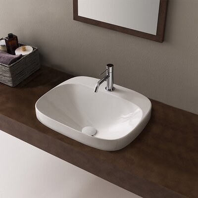 Moon Ceramic Square Vessel Bathroom Sink Faucet Mount: Single