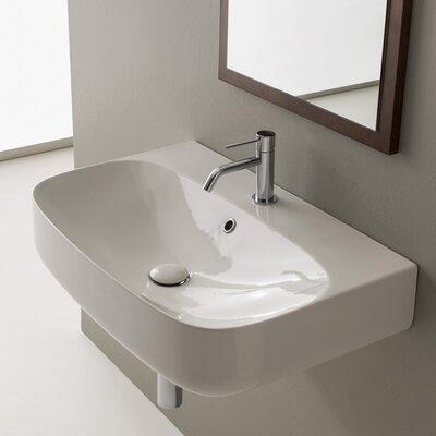 Moon Ceramic 28 Wall Mount Bathroom Sink with Overflow Faucet Mount: 8 Centers